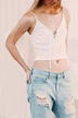 White Lace-up Front Knit Cami Cropped Top