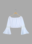 Off Shoulder Cropped Top With Lace Stitching