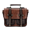 Brown Batchel Bag with Contrast Trims and Magnetic Closure