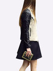 Leather Biker Jacket with Beige Duffle Front