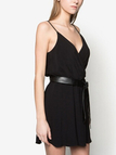 Black Plunge Backless Sleeveless Cami Mini Dress with Belt