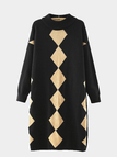 Khaki Diamond Pattern Long Sleeve Knit Dress