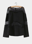 Black Long Sleeve Top with Sheer Lace Insert