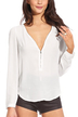 White Chiffon Zipper Front Blouse