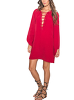 Lace-up Long Sleeve Dress in Red