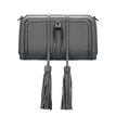 Grey Textured Leather-look Clutch Bag with Detachable Tassel Embellishment
