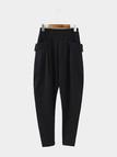 Elastic Waist Pockets Casual Pants