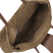 Straw-Woven Lined Beach Bag in Coffee with Flap Top and Tassel