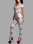 Sexy Grid Striped Cut Out Back Bodycon Jumpsuit