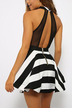 Black and White Color Halter Design Sleeveless Mini Dress with Zipper