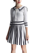 White College Knit Pleated Dress