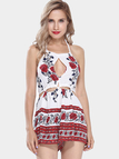 Red Floral Print Cut Out Halter Playsuit with Rope Detail