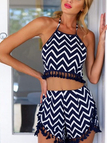 Navy Wave Print Co-ords With Pom Pom Details