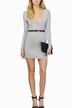 Grey Wrap V-Neck Body-Conscious Mini Dress