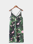 Leisure Leaves Print Sleeveless Mini Dress