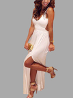 White Deep Plunge Cutout Maxi Dress