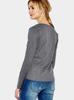 Dark Grey Plunge Casual Design Blouse with Long Sleeves