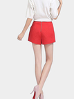 Red High Waist Shorts with Side Pockets