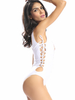 White Lace Up Swimsuit