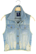 Ripped Short Denim Vest Jacket in Light Blue