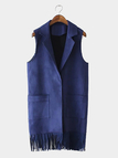Navy Suedette Fringed Gilet with Pocket