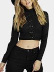 Black Sexy Ribbed Lace-up Front Crop Top