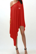 One Shoulder Mini Dress in Red