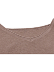 Khaki V-Neck Irregular Crop Top in Knit