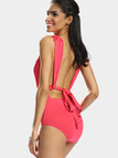 Red Plunge Neckline Halter Back Sleeveless Sexy Style Bodysuits