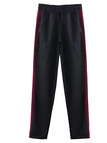 Black Drawstring Waist Side Stripe & Studs Casual Pants