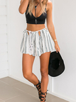 Stripe Rope Drawstring Shorts with Cut Out