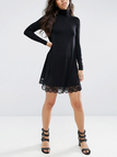 High Neck Lace Details Black Dress