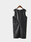 Leather-look Hollow Out Sleeveless Dress