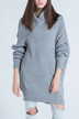 V-neck Bat Sleeves Knitted Dress in Grey