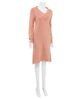 V Neck Sweater Dress in Coral