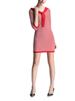 Red Stripe Contrast Color Tie Front Mini Knitted Dress