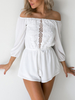 White Strapless Lace Long Sleeves Jumpsuit