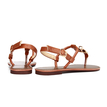 Brown Buckle T-Strap Flat Sandals