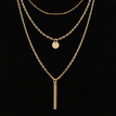 Gold Plated Bar Layered Necklace