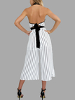 White Stripe Halter Cut Out Jumpsuit with Tie Back