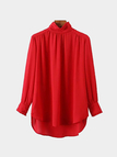 High Neck High Low Hem Blouse in Red