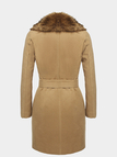 Parka Coat with Fur Collar and Tie Waist