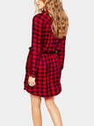 Check Pattern Side pockets Mini Dress with Long Sleeves