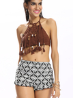 Brown Crochet Tassel Beaded Halter Crop Top
