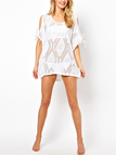 Sexy White See Thru Slit Shoulder Beach Cover Up