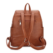 Textured Leather-look Backpack in Brown with Drawstring
