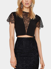Lace Crop Top with Cut Out Detail