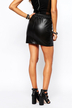 Perforated Leather-look Skirt with Drawstring