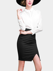 Black Wrap High Waist Pencil Skirt