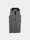 Grey Sleeveless Longline Gilet with One Button